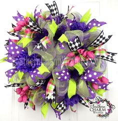 Deco Mesh Spring Summer Wreath Purple Lime Green Hot Pink Door Wreath by www.southerncharmwreaths.com $89.97