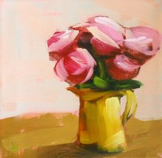Pink Roses in Yellow Pitcher print by Angela Moulton 10 x 10 inches prattcreekart