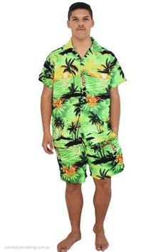 Groovy Party Kits - Green Sunset Mens Hawaiian Shirt and Matching Shorts. Be the life of the party, even better matching with your mates. Cricket, Bucks party, cruise, fancy dress and more #cabana #matchymatchy…