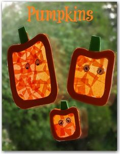 Pumpkin sun catchers - cute Halloween decorations to make with toddlers and young children.