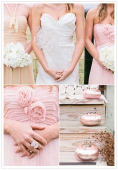 Blush and pink bridesmaids dresses