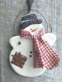 Snowman Salt Dough Christmas Ornament
