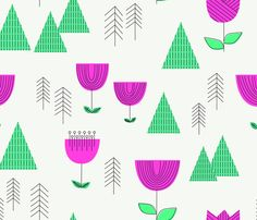 Mod landscape fabric by Cleverviolet on Spoonflower