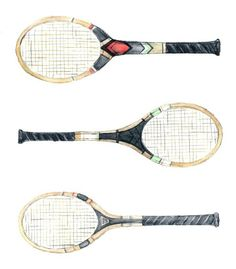 Love this sketch of vintage tennis rackets!