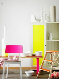 Painting bright colors onto parts of furniture