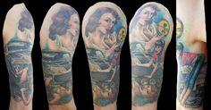 Pin Up Girl Tattoo Sleeve - Amanda West http://pinupgirlstattoos.com/pin-up-girl-tattoo-sleeve/ girl tattoos, tattoo sleeves