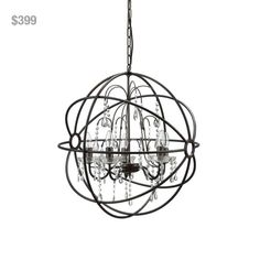 """Round Metal & Crystal Chandelier (25 watt max) from Laura of Pembroke. To order, email sales@lauraofpembroke.com. LOP17J. (24.5""""DIA x 25.5""""H) Our Price: $399"""