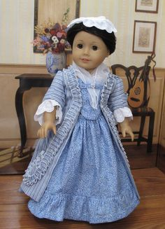 """1770s Sacque Back Gown for 18"""" Doll"""