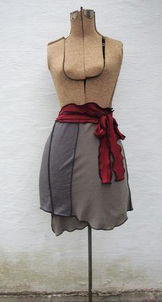 Wrap skirt. Serger + old tee's.