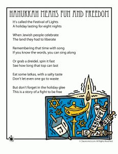 "Poem, ""Hanukkah Means Fun and Freedom"""