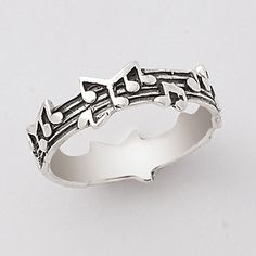 Antique Sterling Silver Music Notes Ring - Earrings, Necklaces, Rings, Bracelets, Pendants and More :: Unique Jewelry at Affordable Prices | Natures Jewelry found on Polyvore