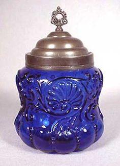 Old Victorian Cobalt Glass Biscuit Jar``