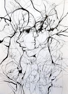 "Boicu Marinela; Pen and Ink Drawing ""breaking"", 2012,"
