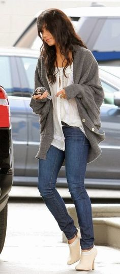 Casual Fall Outfit With Oversized Cardigan. In love with those wedge booties!