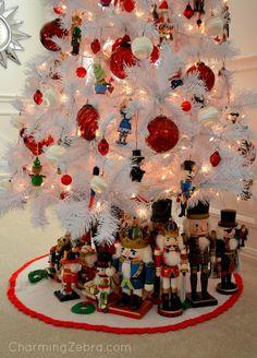 Nutcracker Tree Skirt::With Nutcracker collection beneath the tree.