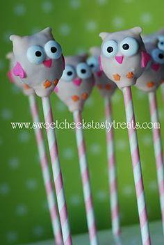 Owl cake pops sweet cheeks, ball, birthday parties, cake pops, paper straws, cakepop, 1st birthdays, owl cakes, treat