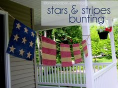 Stars & Stripes Bunting made from burlap.  Has instructions.