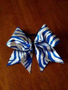 Blue Zebra Cheer Bow