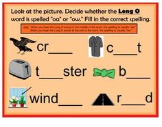 Freebie  Long O Spelled oa & ow Smartboard lesson