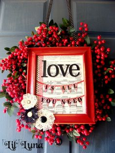 Cute Valentine's Door Wreath and Frame on { lilluna.com } #valentines