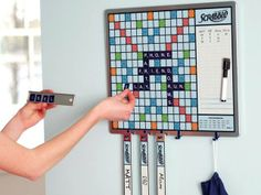 Keep a game of Scrabble going all the time with the fun and functional Scrabble Game Plus Message Board. GetdatGadget.com/scrabble-game-plus-message-board-keeps-game-going/ scrabbl game