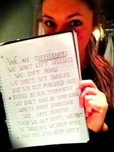 We are cheerleaders