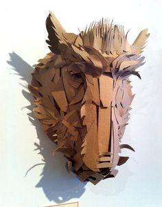 The Boar - cardboard mask sculpture by Jacqui Oakley