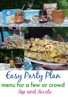 Check out this easy party plan with menu, shopping list and more. Recipe for pineapple chicken kebobs. Host 12 people for under $100!
