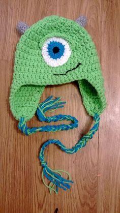 crochet Child Mike W hat, gorro crochet Mike monstruos