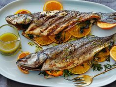 Bobby's Grilled Whole Mediterranean Fish with Aged Sherry-Vinegar-Tarragon Vinaigrette #Protein #MyPlate