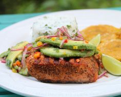 Recipe for grilled salmon with avocado salsa