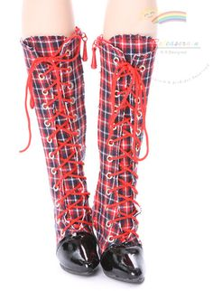 """Knee Heel Sneakers Shoes Boots Red Plaid for 22"""" Tonner American Model dolls"""