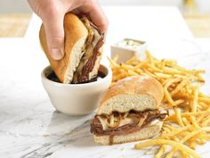 Beef Dip - Thin sliced roast beef, swiss cheese, caramelized onions ...