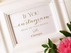 Instagram Wedding Sign  Lets Get Social  DIY by YouGotMySunshine, $17.00