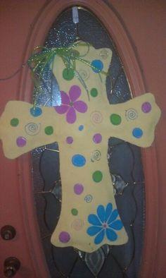 Newest spring cross burlap door hanging