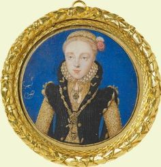 "Portrait miniature thought to be Elizabeth I, c.1560. She is wearing symbolic roses in her hair: red for the house of Lancaster and white for the house of York; the Tudor line merged both with the marriage of Henry Tudor/VII to Elizabeth of York, creating the iconic ""Tudor rose"". The Royal Collection."