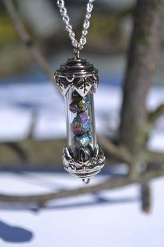 Wild Titanium Druzy vial Necklace /Drusy Nugget  Rainbow Quartz - OOAK Tiny little vial jar filled with Rainbow quartz Gift for her. $35.00, via Etsy.