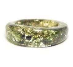 Green Moss Resin Ring, Sizes 5-9