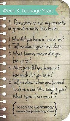 Teach Me Genealogy: 5 Questions week 3