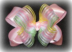 Pink Satin Pastel Stripe Organza Glamor by MyBellaBellaBowtique, $6.50