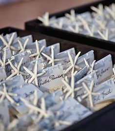Starfish place cards for a beach wedding | photo by Amy Bennett Photography