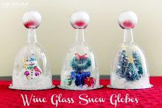 Wine Glass DIY Snow Globe Craft