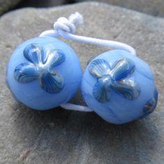 Matched pair of sky blue flower earring beads SRA lampwork *kitzbitz*