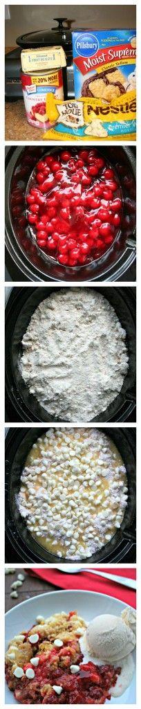 Slow Cooker White Chocolate Cherry Dump Cake Crock Pot, Dump Cakes, Cherri Dump, Food, White Chocolate, Chocol Cherri, Slow Cooker, Cooker White, Dessert