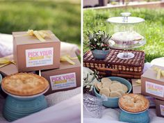 instead of a sit down reception you get to pick a boxed picnic lunch and have a picnic! that's awesome. I am so loving the picnic idea for a casual reception in Ohio.