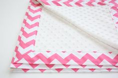 Minky Baby Blanket - Riley Blake Chevrons in Hot Pink with White Minky Dot - (30 X 32)