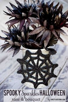 Quick and easy spooky sparkles halloween vase and bouquet @Courtney O'Dell.com