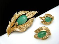 Crown Trifari Brooch Earring Set Faux Jade Foliate | eBay