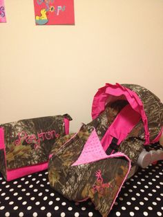 3 Piece Set MOSSY OAK CAMO fabric infant Car Seat Cover and Canopy Cover and Diaper Bag  & Huggy Blanket with Free Monogram. $105.00, via Etsy.