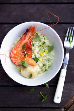 Zucchini and Lemon Risotto with Shrimp